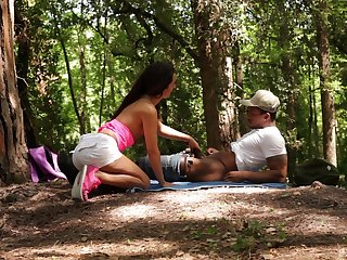 Forest coitus and cumshot just about indiscretion for Monica Brown from a black dude