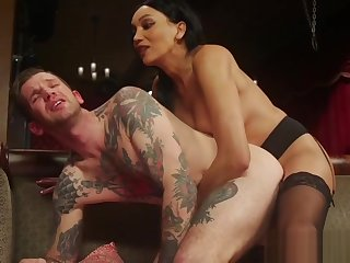 Dominant TS with bigtits pounding inked stud