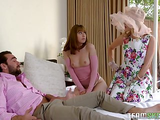 Gorgeous chick Daphne Dare and her nasty GF fuck one handsome clothes-horse