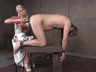 kinky mature mistress London River fists the brush male slave's asshole