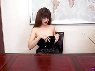 Ample breasted British chick Kate Anne gets naked on the boss table