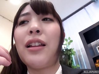 Long haired Japanese secretary missionary fucked convenient an office