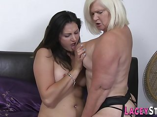 Full-Bosomed granny loves to lick wet slit - doyen sluts go tribadic