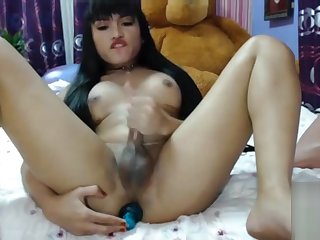 Cute asian tgirl jerks plus cums online