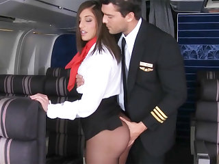 Lever seduced stewardess to fuck in airplane