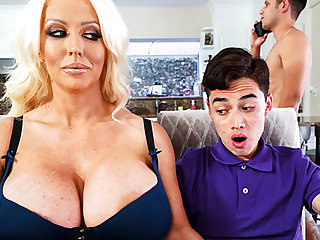 Busty stepmom interested to taste schoolboy's unearth