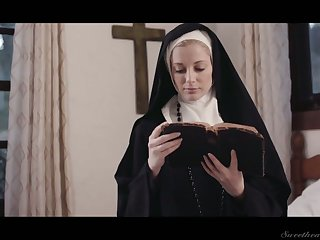 Uninhibited lesbian nun Mona Wales is licking and finger fucking succulent pussy