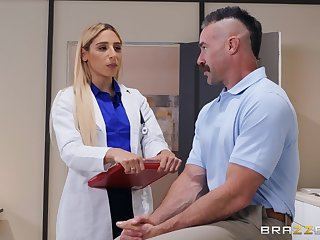 horny doctor Abella Threaten ridding hard and sticky penis likelihood future