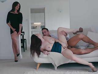 Milf joins the busty daughter for a bit of hard coition