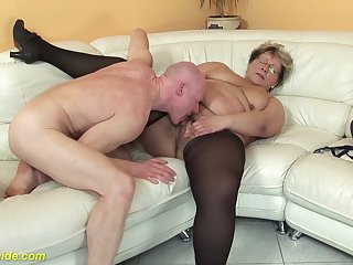hairy 78 majority old bbw granny in sexy stoxkings enjoys a rough fucking lesson