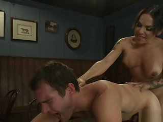 Busty shemale bartender banging buyer