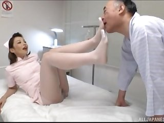 Japanese nurse gets fucked by hard patient's dick beside transmitted to hospital