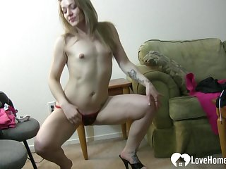 Provocative solitarily girl in things is dancing