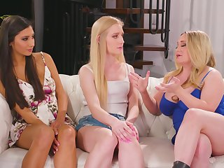 Doyenne milf Aiden Starr is teaching two cross girls how to give a cunnilingus