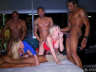 Ash-Blonde female is permanently orgying with many dark-hued boys, until she finishes around downright drub
