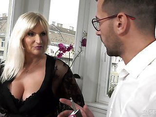 Busty aged rich woman Anna Valentina gets initiate with young gigolo