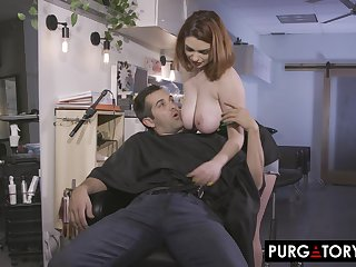 Stunning busty babe Annabel Redd was getting reachable to put in order up burnish apply barbershop