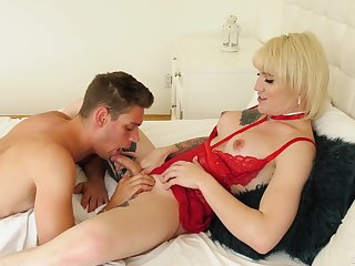 Tall blonde shemale Lena Kelly is so happy with BJ given by her stud