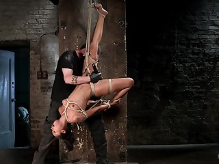 Suspension bondage and rough Hitachi pussy stimulation for Skin Diamond