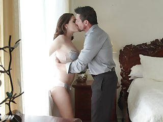 Old daddy fucks beautiful young stepdaughter Brooke Bedim
