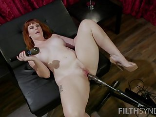 Red haired plumper Barbary Rose is check-up ground-breaking making love machine and vibrator