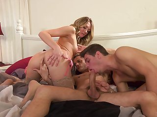 Aroused wife shares dick with her bi-sexual lover