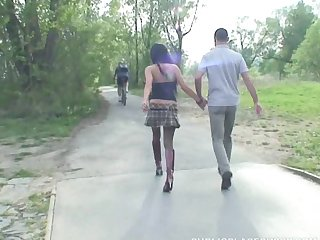 Skinny Brunette Vanessa H sucks a dick and rides in the forest