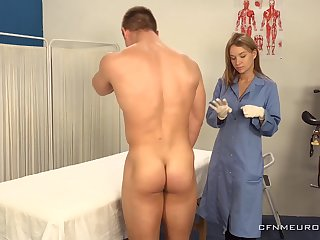 A chubby guy submits to prostate grilling and his sexy doctor wants to finger his ass