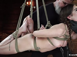 Darkhair in horizontal hogtie come out suddenly
