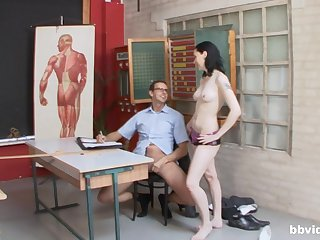 Hard sex down at the office with a align of hot women