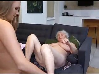 Depraved grandmother with a lesbian neighbor in the sky the couch