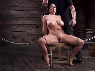Submissive milf with G-cup confidential Angela White gets punished in the basement