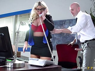 Boss lady Julie Cash fucked in the office by her male component