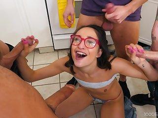 Brunette girl filmed when taking multifaceted dicks more the same maturity
