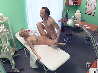 Erotic fantasy caught on cam between the pollute and the nurse