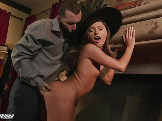Hot witch fucks a man on Halloween and her big arse cover humbly looks good on her