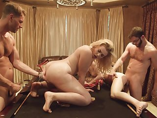 Two buddies having a group sex with two hot girls after a synthesize game