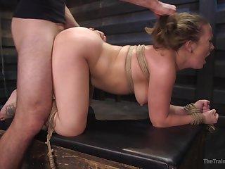 MILF regarding fucked in BDSM scenes then made to swallow