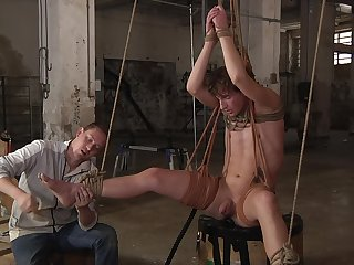 Restrained twink plays obedient for his lover