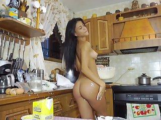 Unconventional Denisse Gomez makes cake and masturbates in the kitchen