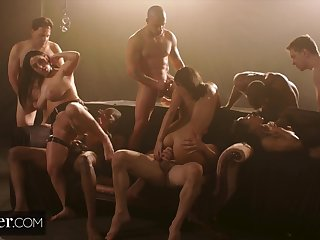 Deeper. Angela, Emily and Kira Dealings Overdose in Larger than life Gangbang