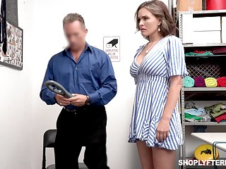 Super sexy shoplifter Krissy Lynn gets punished in all directions a guard room
