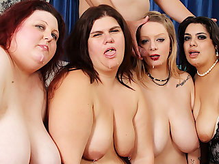 Four Wild Plumpers Reverse Gangbang a Lucky Pang Dicked Man