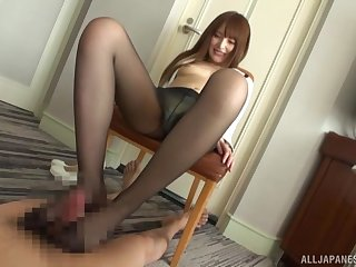 Kinky foot sex with nylon-clad Asian utilizing a instrument a Hitachi on herself