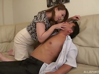 Busty Japanese spliced Kazama Yumi drops her clothes to have sex