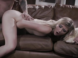 Energized blonde girl fucked merciless coupled with jizzed by her enactment dad