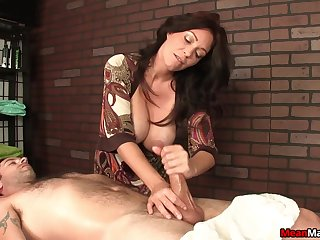 Lucky client gets his prick pleasured by a adult pornstar