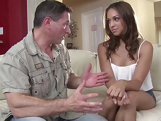 Naughty young chick Sara Luvv is craving for doyen patriarch man