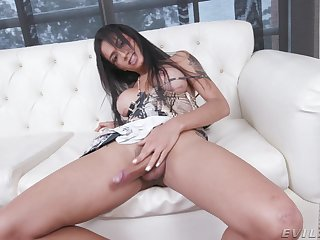 Inexpert shemale Candy Brendys loves playing with her manhood