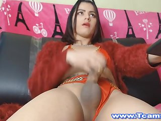 Gorgeous Shemale Got Pleasure By Jerking Her Cock
